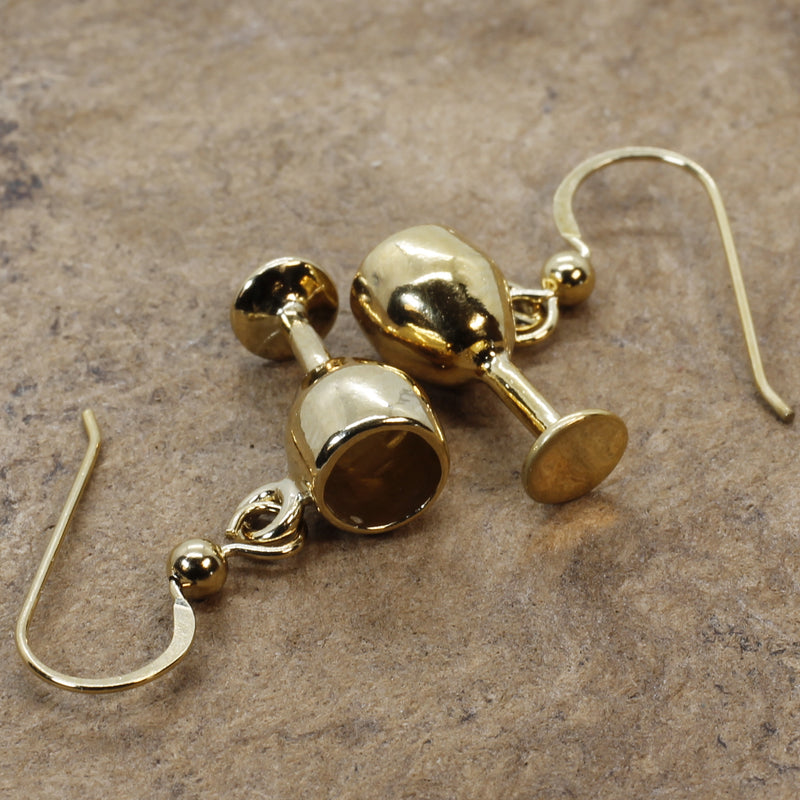 Gold Wine Glass Earrings in 14kt Gold Vermeil Wine Glasses Dangling on French wires