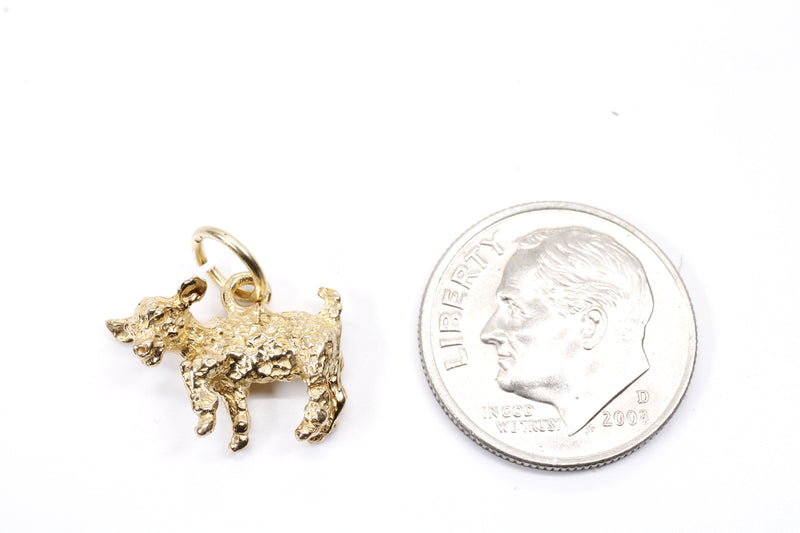 Gold Baby Goat Charm with a 3-D Solid 14kt Gold Playful Goat