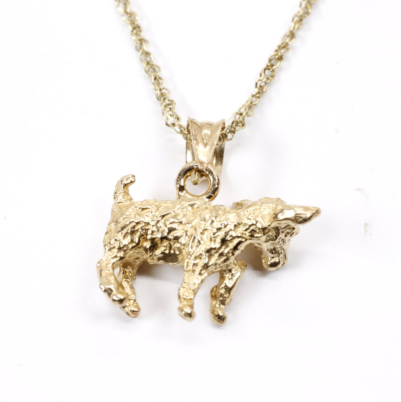 Gold Baby Goat Necklace with a 3-D Solid 14kt Gold Playful Goat