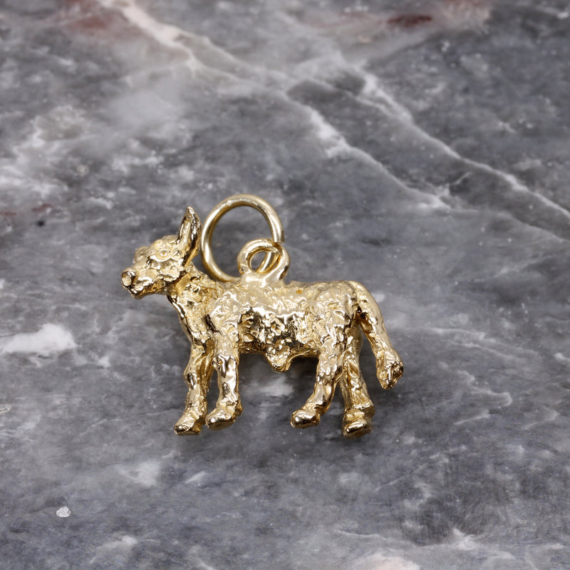 Gold Calf Charm made in solid 14kt yellow gold with 3D Calf