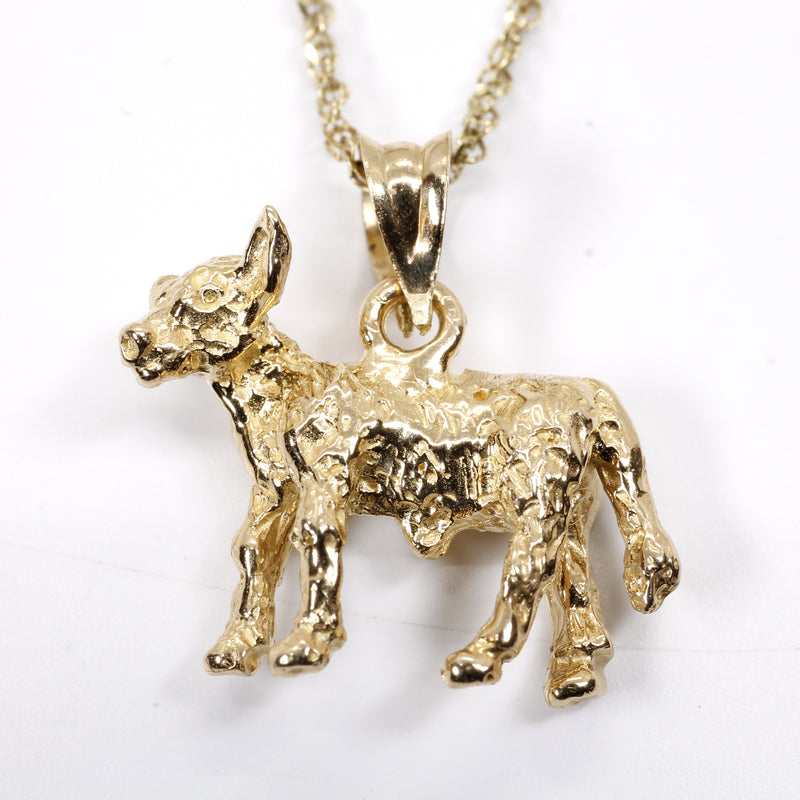 Gold Calf Necklace made in solid 14kt yellow gold with 3D Calf