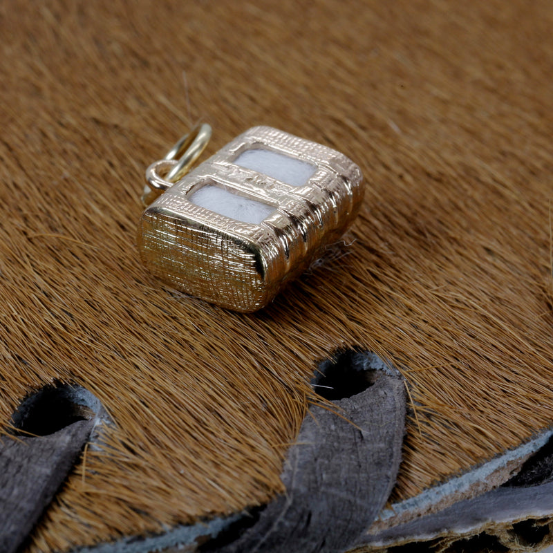 Gold Cotton Bale Charm with Real Cotton in solid 14kt Gold