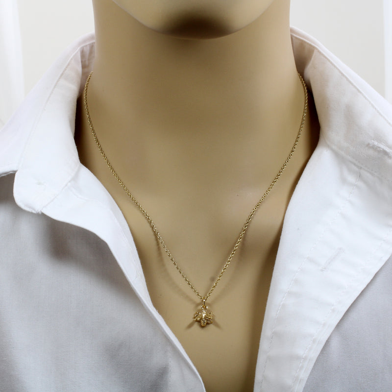 Honey Bee Necklace for Beekeeper made in 14kt gold Vermeil