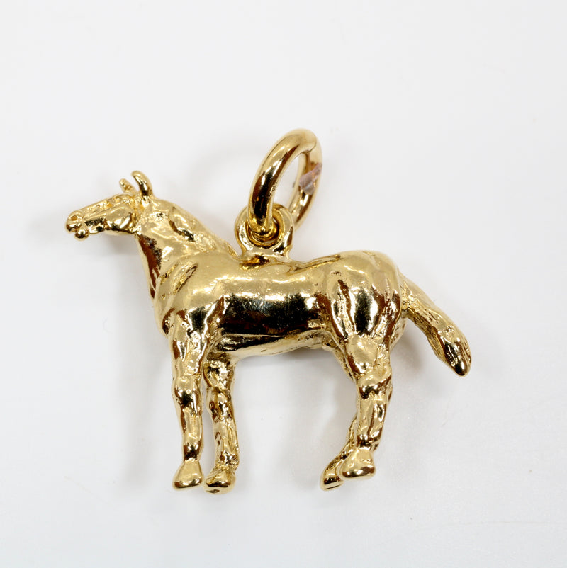 Gold Horse Charm with 3-D Quarter Horse in 14kt Gold Vermeil