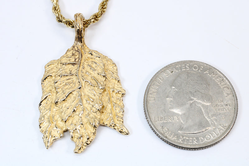 Gold Tobacco Leaf Necklace with solid 14kt gold Three Leaf Charm
