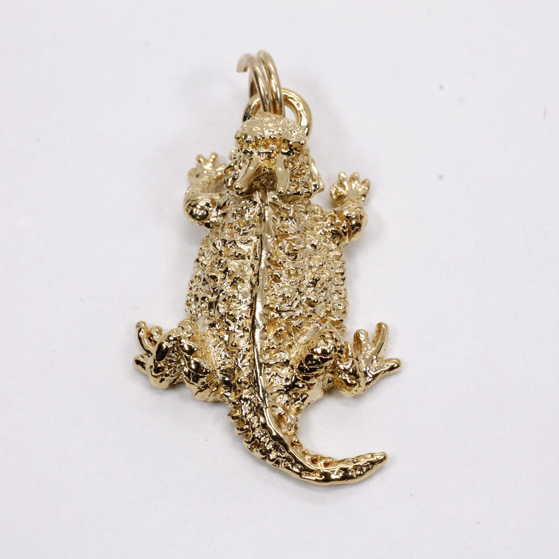 Gold Horned Toad Frog Charm made in 14kt Gold Vermeil