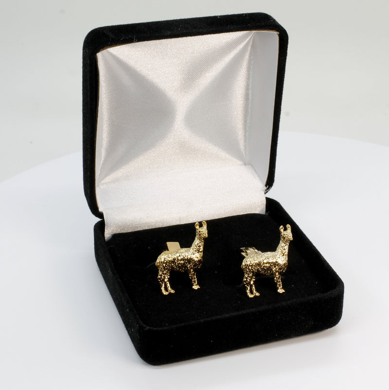 Gold Suri Alpaca Cuff Links for him with Medium Size 14kt Gold Vermeil Suri Alpacas