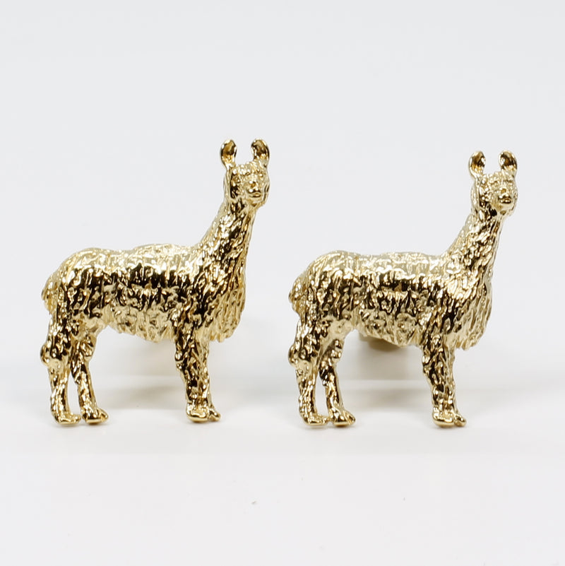 Gold Llama Cuff Links for him with Medium Size 14kt Gold Vermeil Llamas