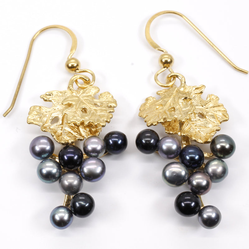 Black Pearl Grape Dangle Earrings made in 14kt gold vermeil for wine lover gift
