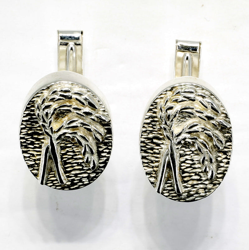 Rice Cuff Links for him with 925 Sterling Silver Heads of Rice