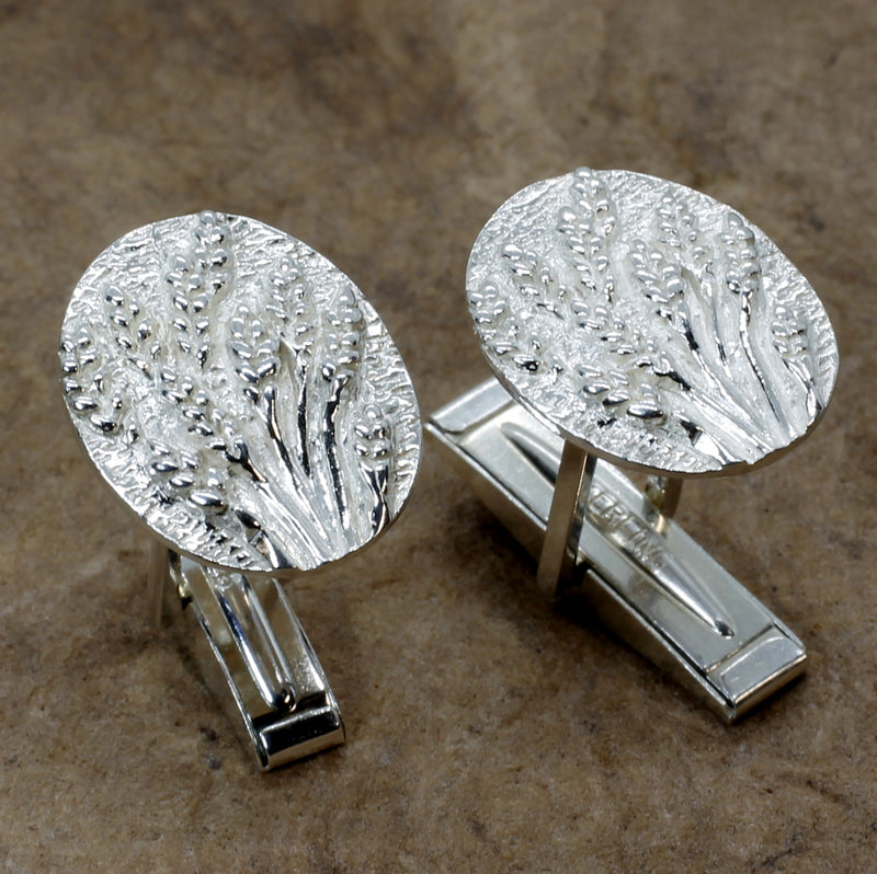 Wheat Cuff Links for him with 925 Sterling Silver Heads of Wheat or Barley