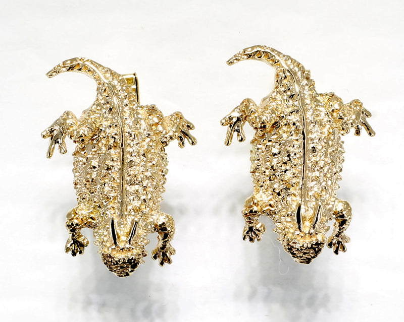Gold Horny Toad Cuff Links in Solid 14kt Gold Horned Toad Lizards for Men