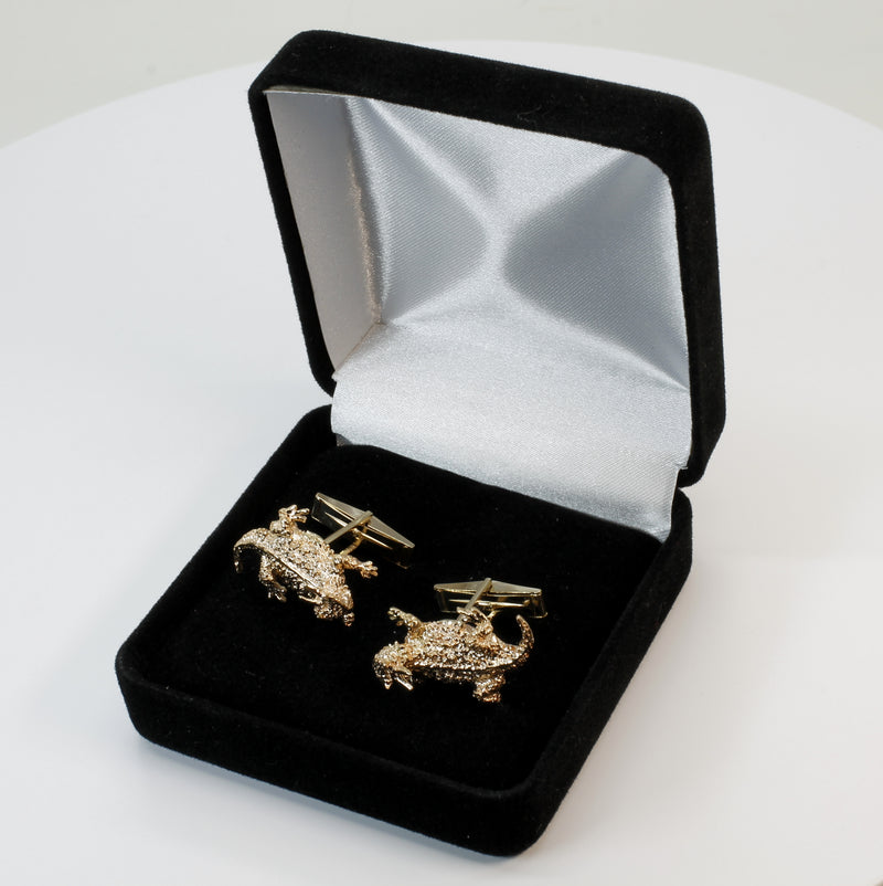 Gold Horn Frog Horny Toad Cuff Links in Solid 14kt Gold Horned Toad Lizards for Men