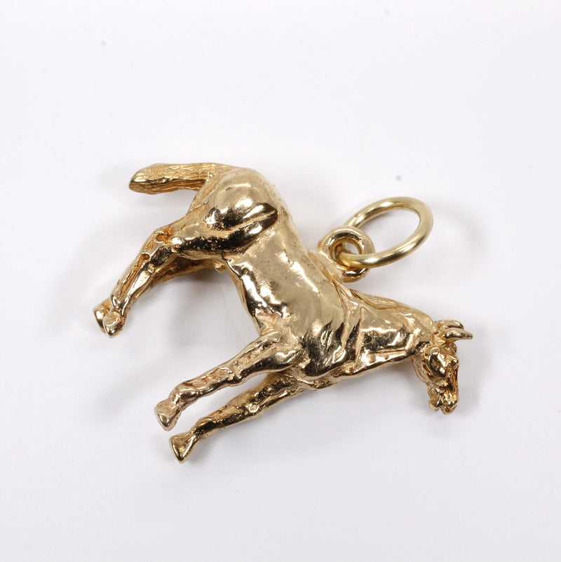 Gold Horse Charm with 3-D Quarter Horse in Solid 14kt Yellow Gold