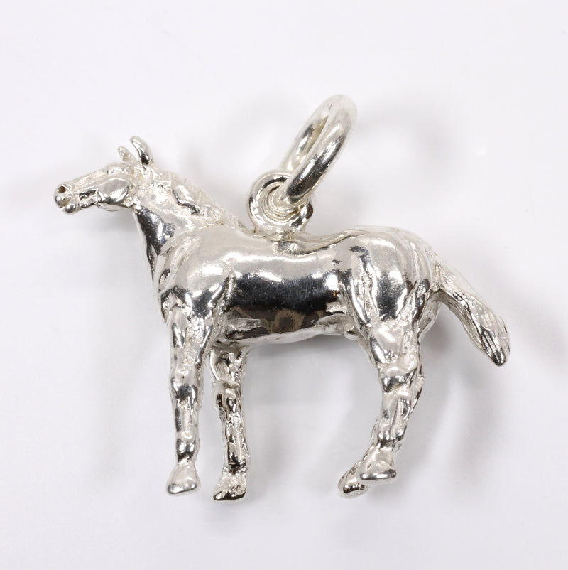 Silver Horse Charm for bracelet with 3-D Quarter Horse