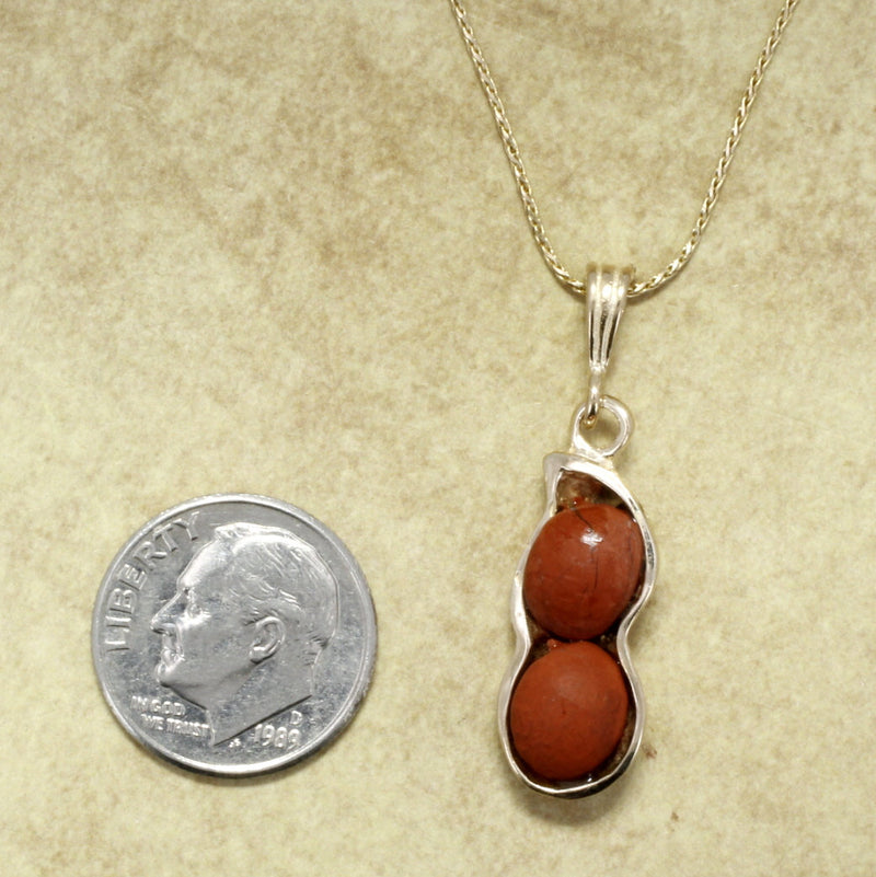 Red Japer Peanut Necklace with 14kt God Peanut Shell , Virginia peanut jewelry gift for her