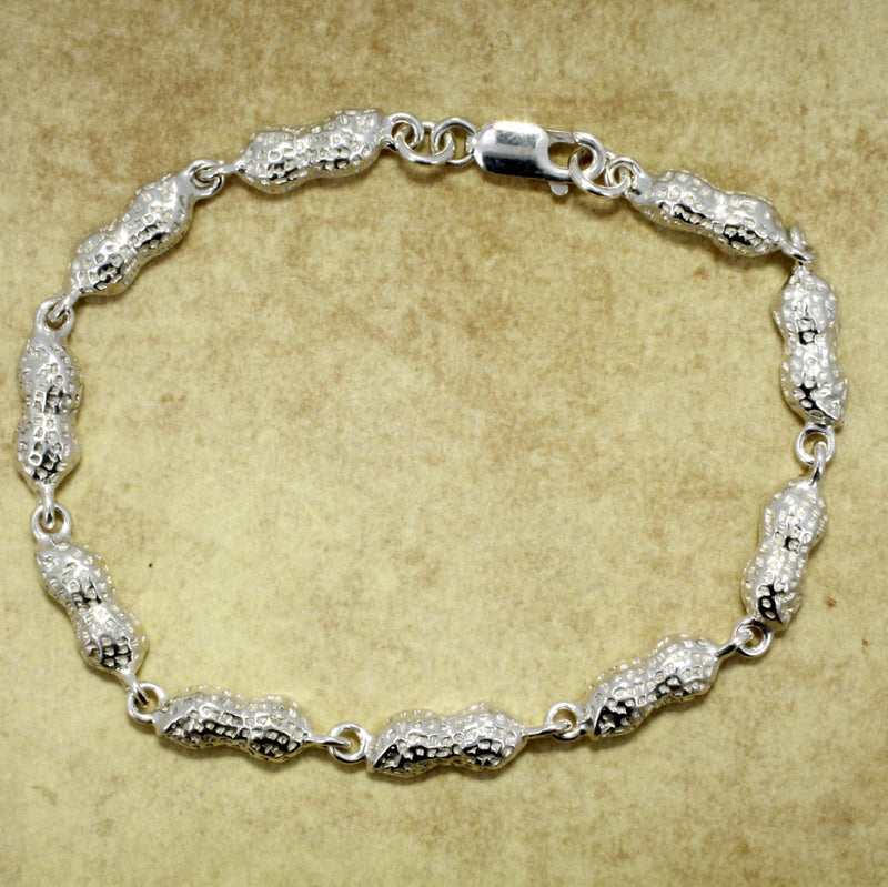 925 Sterling Silver Peanut link bracelt for peanut grower