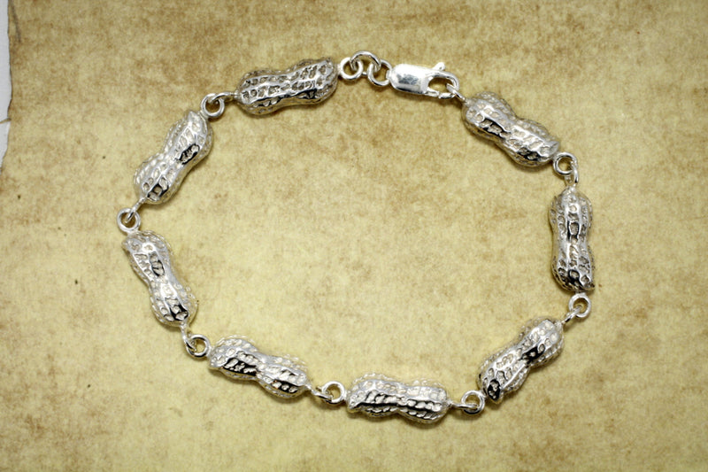 Peanut Jewelry of a 925 Sterling Silver Peanut link bracelet with medium size peanuts