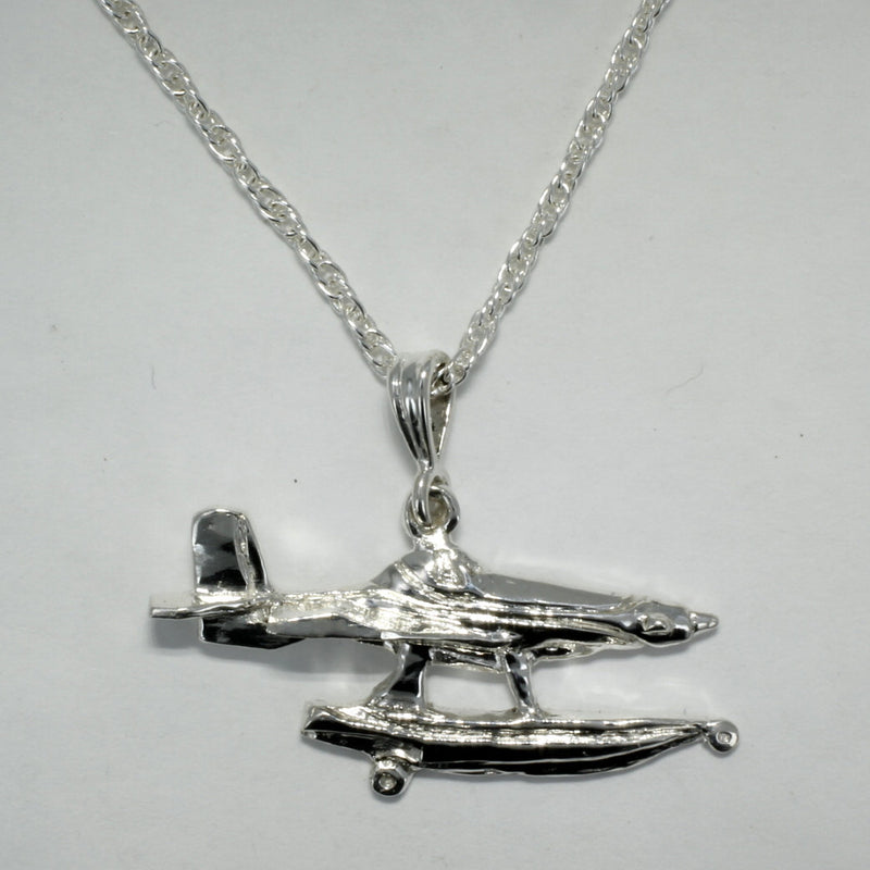 Fire Boss Fire Fighting Plane Necklace in Sterling Silver