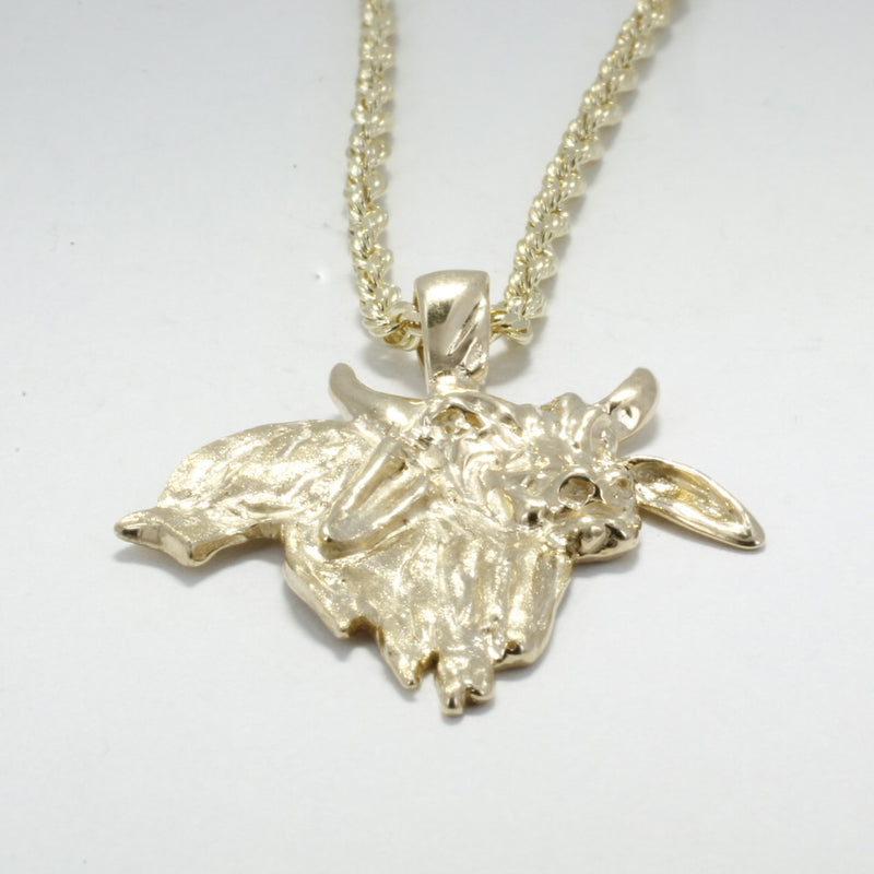 14kt Solid Gold Brahman Bull Necklace for man, Gift for him, Bull Rider Cowboy  Rodeo Gift