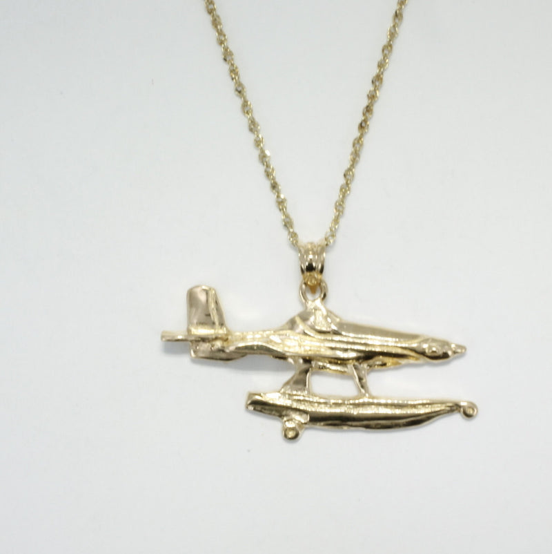 "Fire Boss Fire Fighting plane Necklace in 14kt gold on 18"" pendant chain"