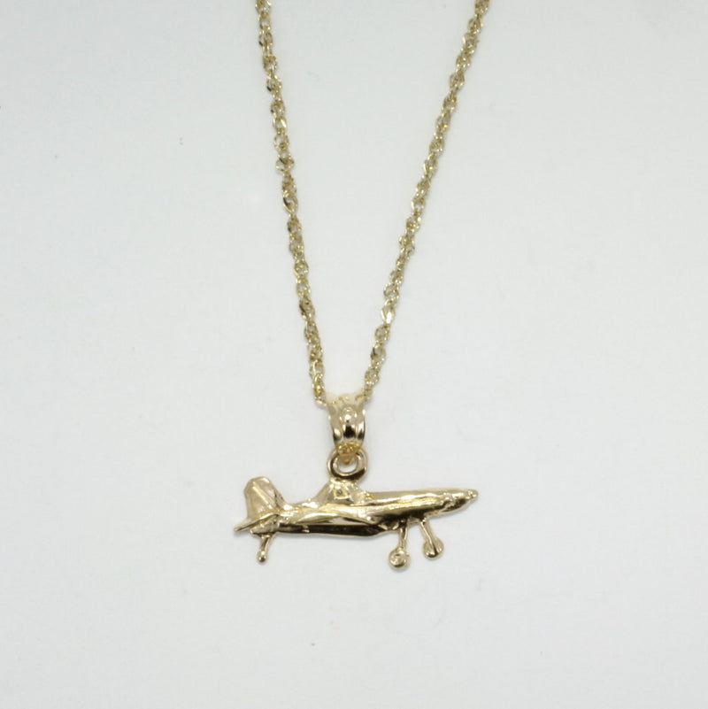Airplane Jewelry , Airplane Necklace, Small Air Tractor Necklace in 14kt gold