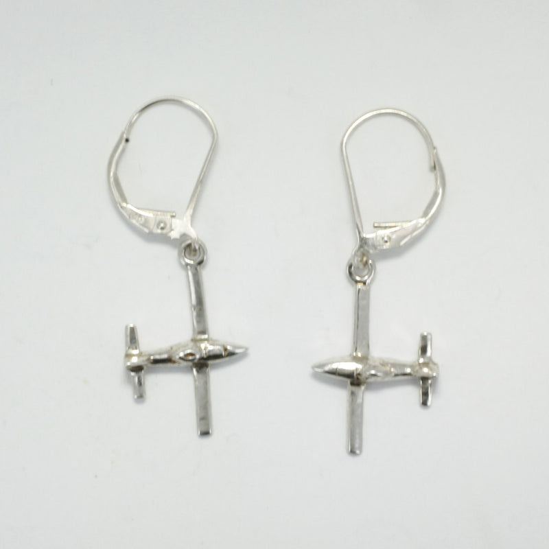 925 solid sterling silver three dimensional Airplane Earrings