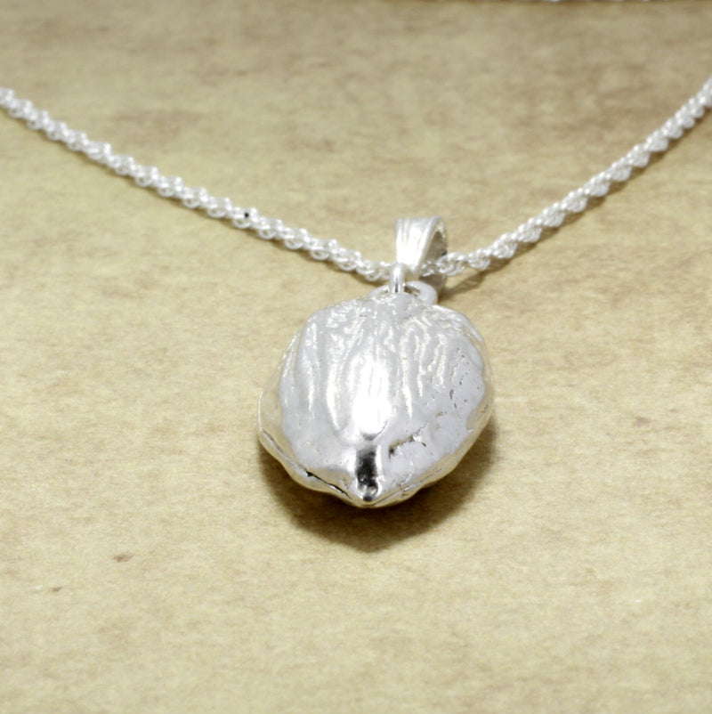 Almond Jewelry 925 Sterling Silver Almond Necklace of actual size almond.