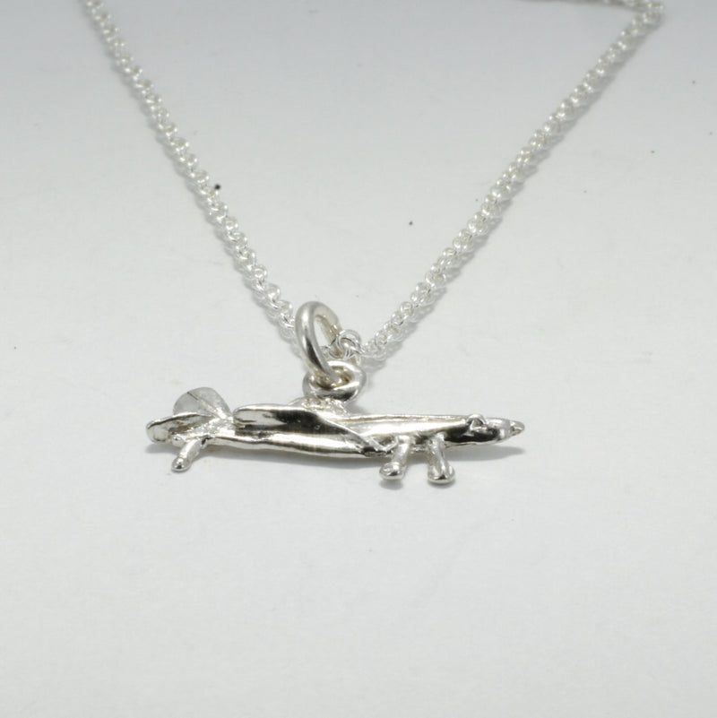 Small Air Tractor Necklace in Sterling Silver