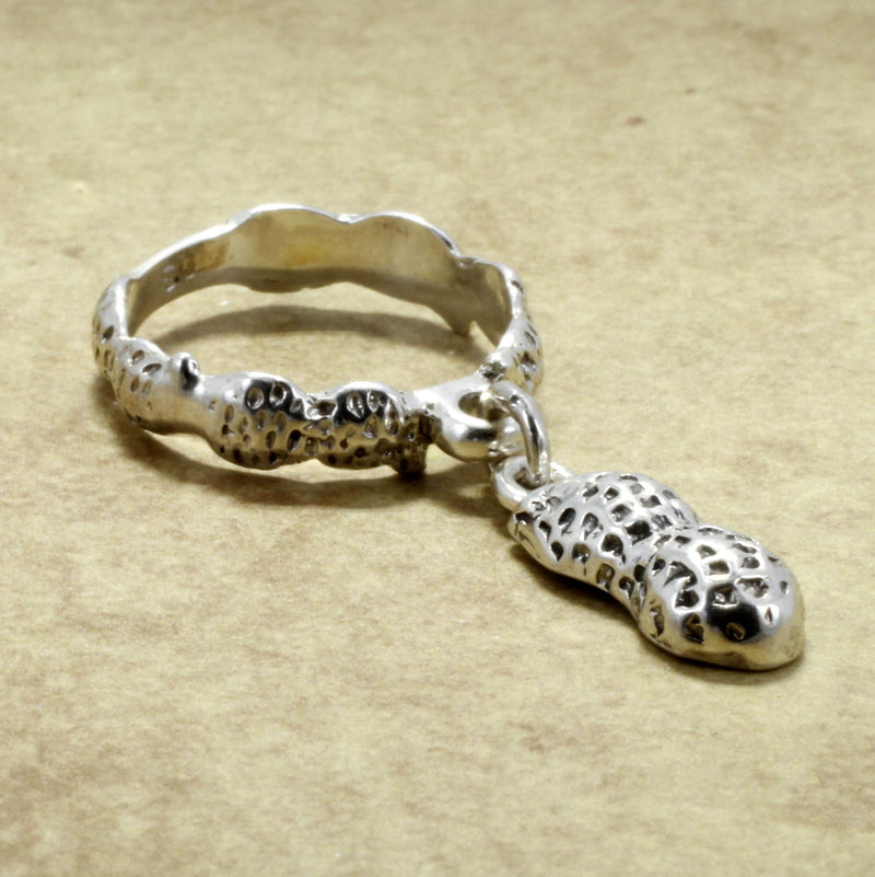 Small Sterling Silver Peanut Dangle Ring, 33% Off