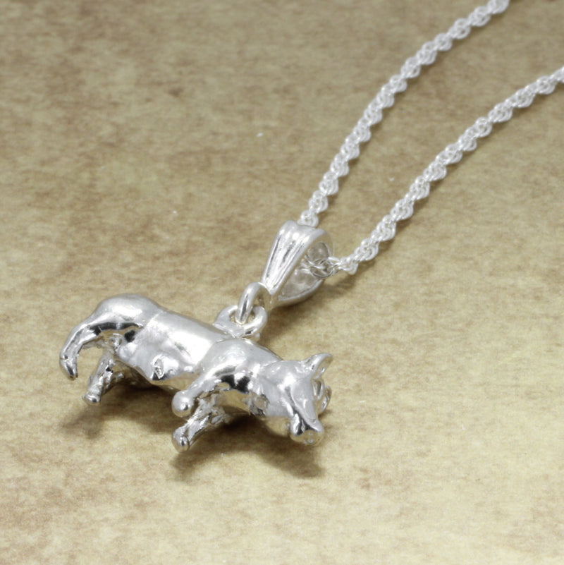 "925 Sterling Silver Pig Necklace with 18"" chain"