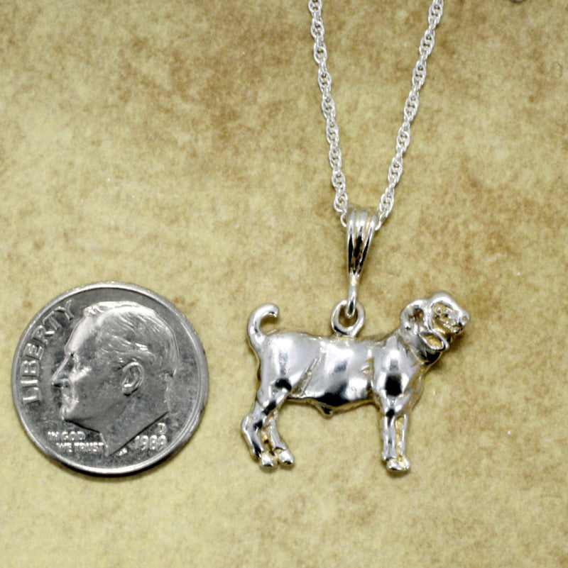 "Goat Jewelry, Champion Boer Goat Necklace on 18"" chain in Sterling Silver"