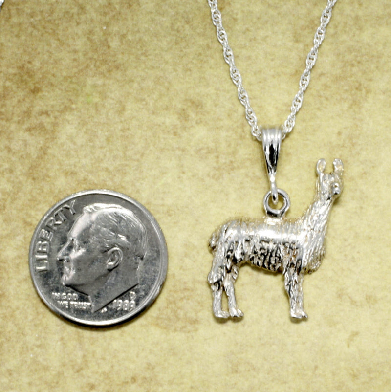 "Llama Jewelry Large 925 Sterling Silver Llama Necklace with 18"" silver chain"