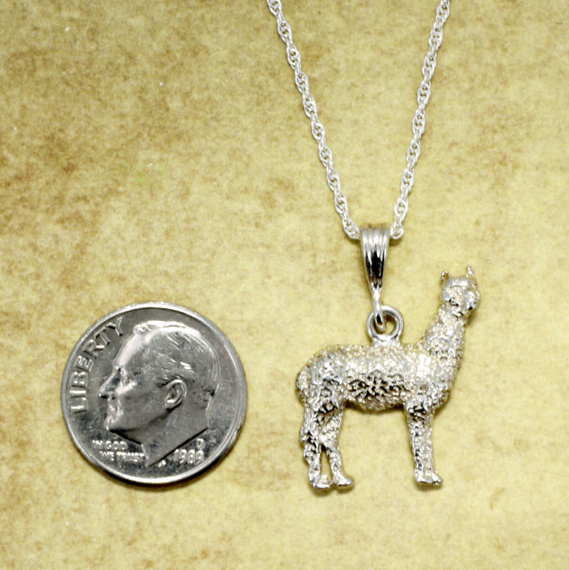 Sterling Silver Large Alpaca Jewelry Necklace