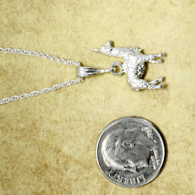 "Suri Alpaca Necklace with 18"" chain made in 925 Sterling SIlver"