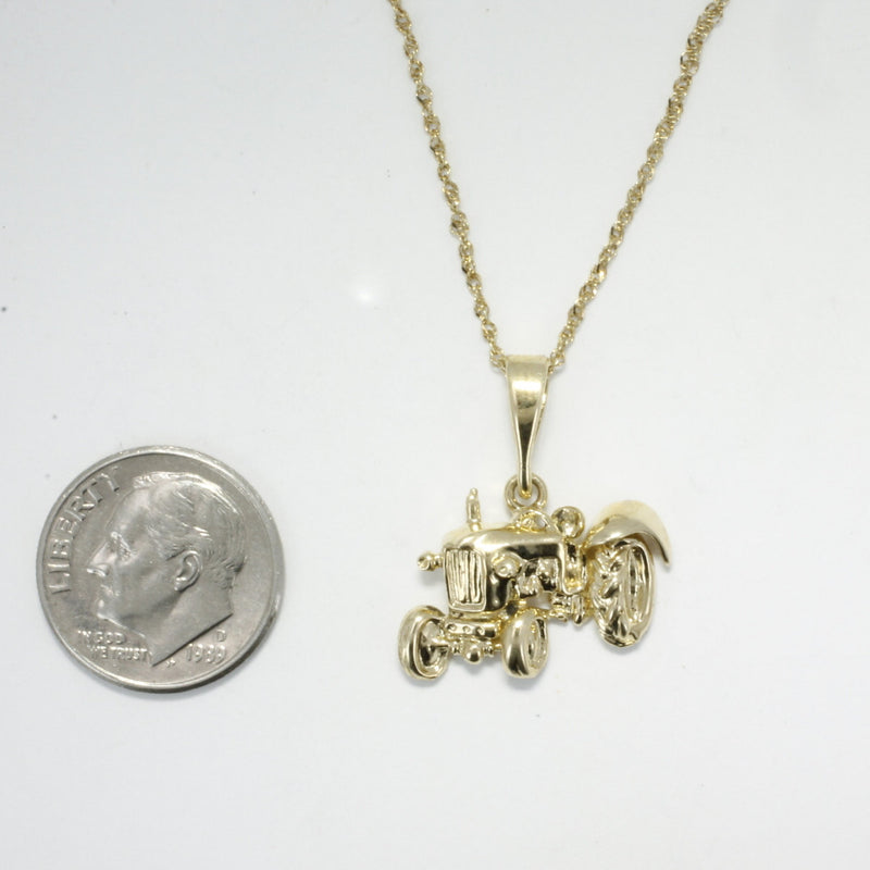 Ford Tractor, Tractor Necklace, Ford Tractor Necklace in 14kt gold, Farming related gift for her, Small Gold Necklace gift for wife,gift mom