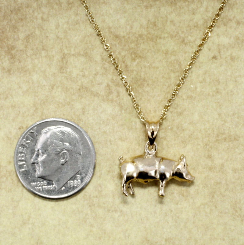 "Solid 14kt Gold Pig Necklace on 18"" Chain"