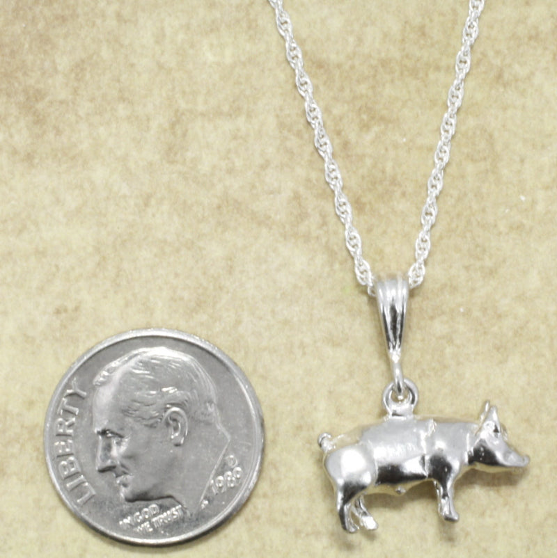"Pig Necklace, 925 Sterling Silver Pig Necklace with 18"" chain"