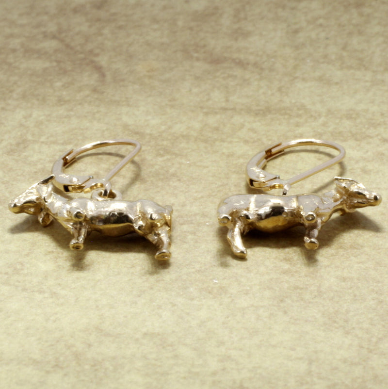 Small Boer Goat Dangle Earrings in 14kt Solid Gold