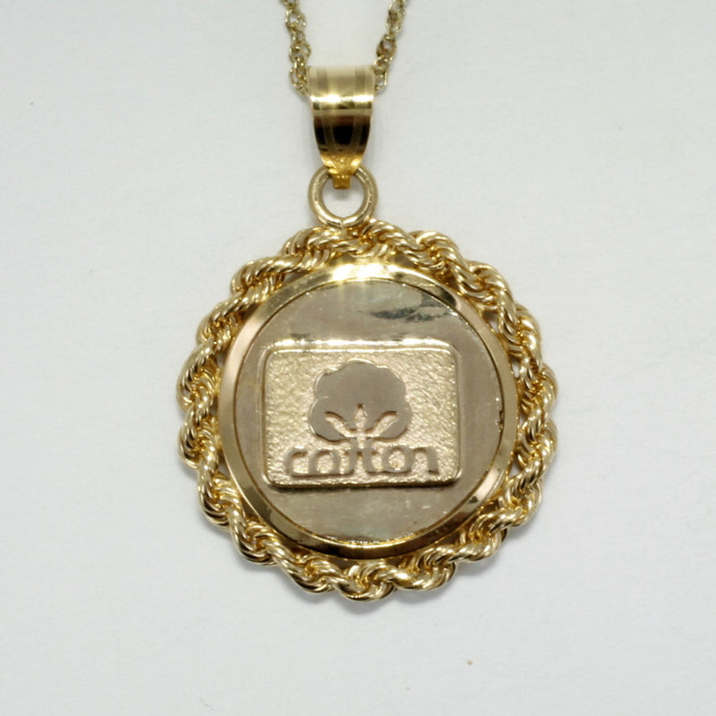 Cotton Inc Jewelry,  Small Cotton Inc 14kt Gold Medallion Necklace with Rope Bezel