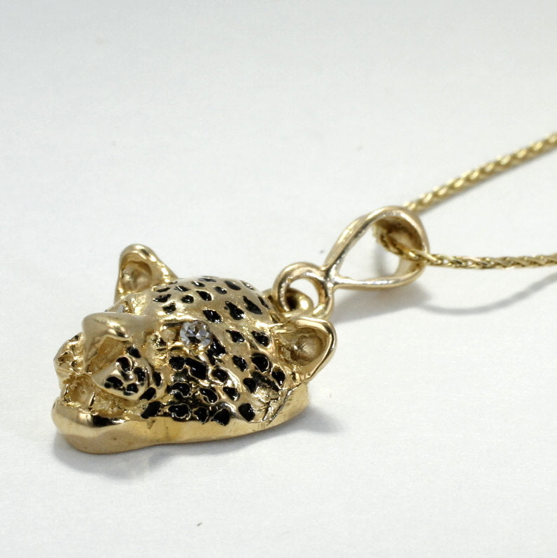 Leopard Head Necklace in 14kt Yellow Gold with diamonds in the eyes