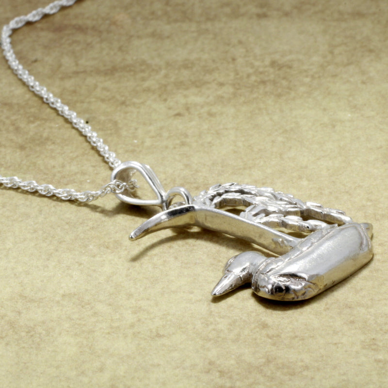 925 Sterling Silver Duck in a rice field Necklace