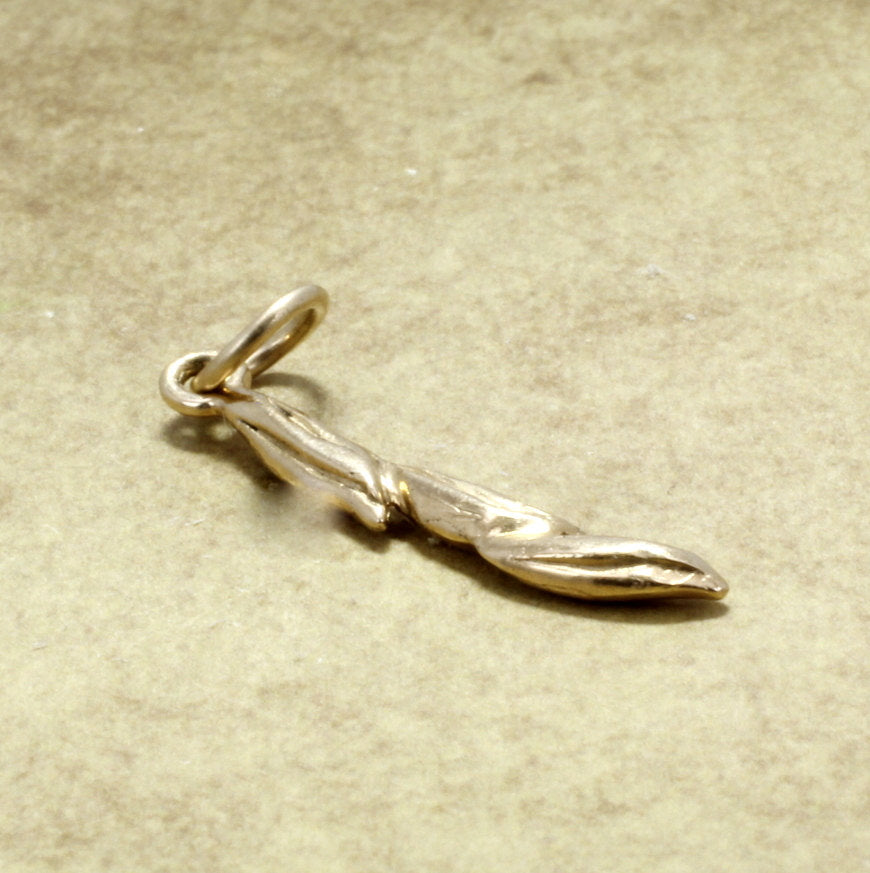 Rice Jewelry, Rice Charm, 14kt solid yellow gold Small Three Grain of Rice Charm