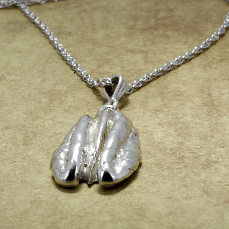 Large 925 Sterling Silver Pecan Necklace