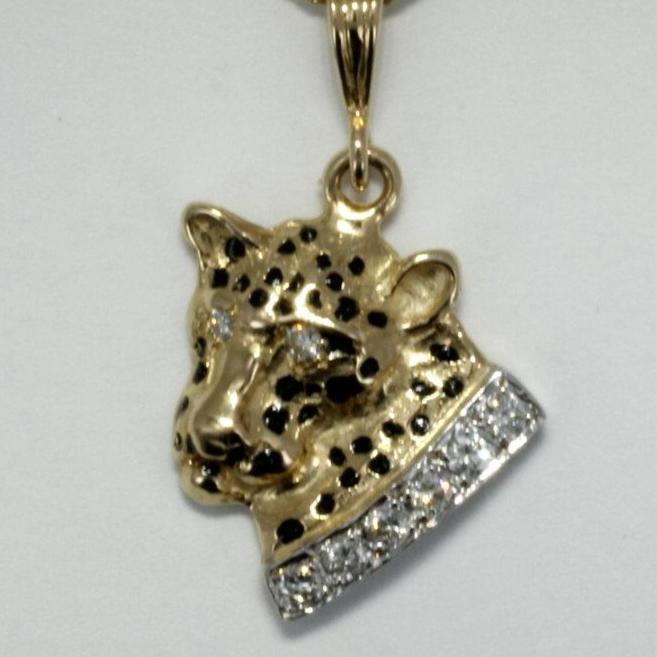 Leopard Jewelry Necklace with Diamond Collar in 14kt Gold