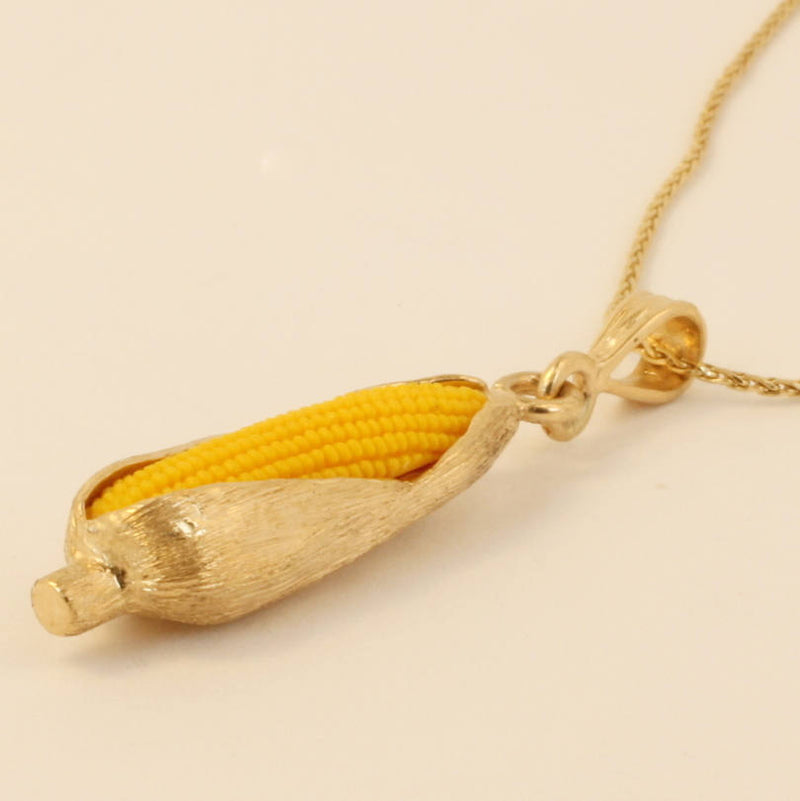 "Large 14kt Gold Corn Cob Necklace with 18"" chain by agrijewelry.com"