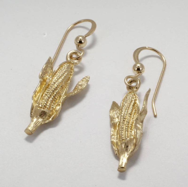 Corn Jewelry, 14kt Gold Corn Cob Dangle Earrings by agrijewelry.com