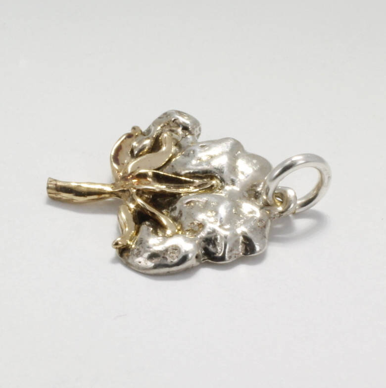 Two Tone 14kt. gold and sterling silver Cotton Boll Charm