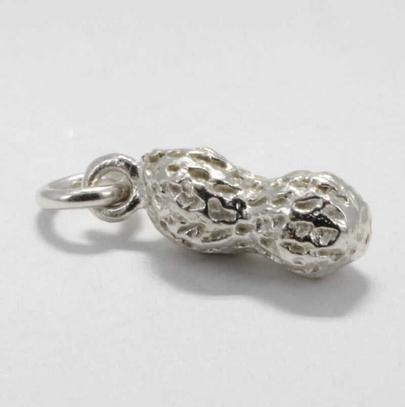 Small Sterling Silver Whole Peanut Charm