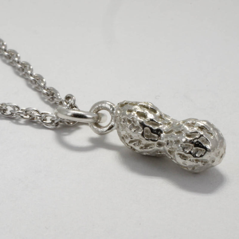 Small Sterling Silver Whole Peanut Necklace